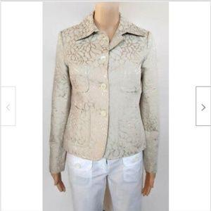 J Crew ivory gold floral brocade blazer jacket